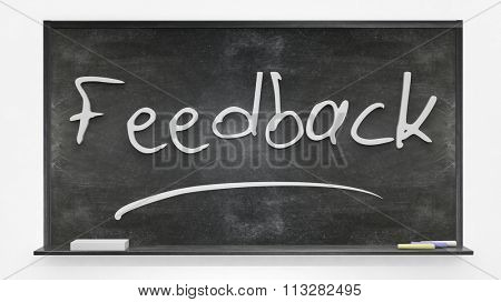 'Feedback' written on blackboard