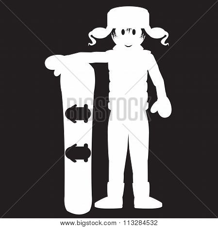 Stencil Guy With A Snowboard