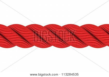 Seamless Tileable Red 3D Rope Illustration Isolated On White Background