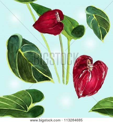 Seamless anthuriums background pattern