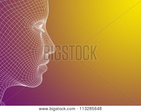 Concept or conceptual 3D wireframe young human female or woman face or head on yellow violet background