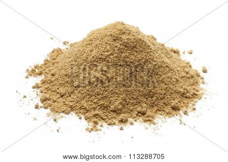 Heap of ground ginger on white background