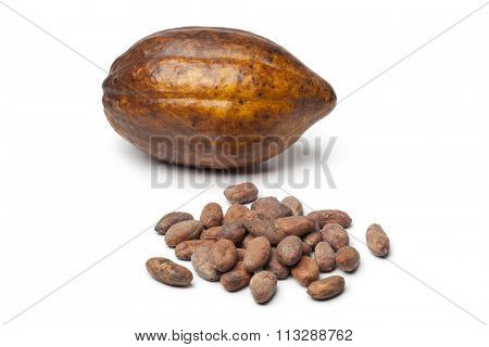 Cacao fruit and cocao beans on white background