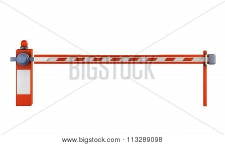 Road Barrier Isolate On White Background. Closed Gate On The Road With A Light Signal. 3D.