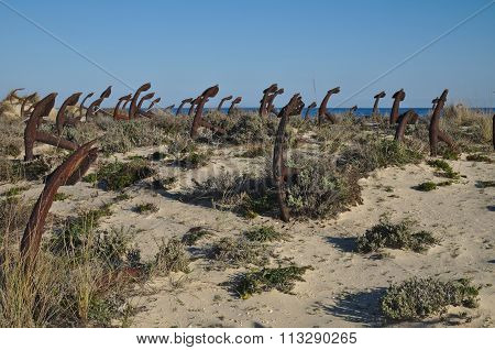 Anchor cemetery at Praia do Barril