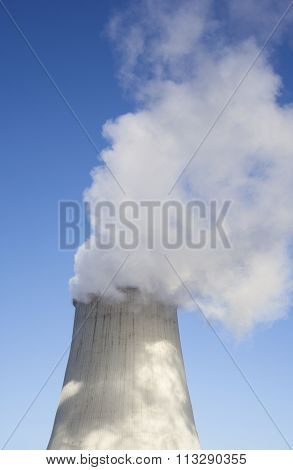 Cooling Tower With Water Vapor Over It