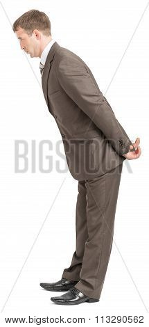 Businessman bending forward