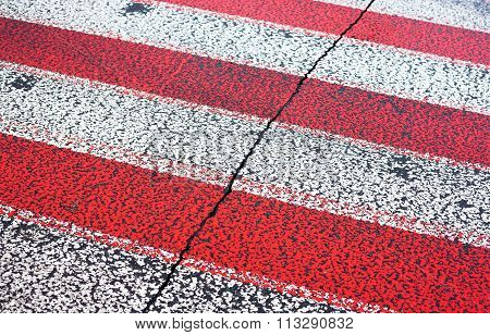 White And Red Zebra Crossing Lines
