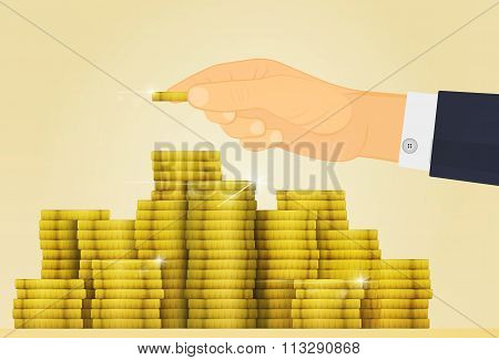 Gold shine treasure. Lottery Jackpot or money in Bank. Hand adds a coin to the other coins