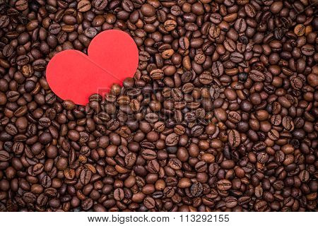 Coffee Beans With Red Paper Heart