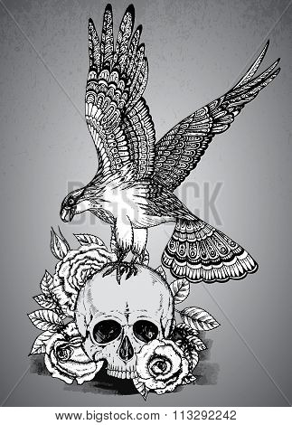Vector Illustration With Hand Drawn Ornate Eagle On Human Skull