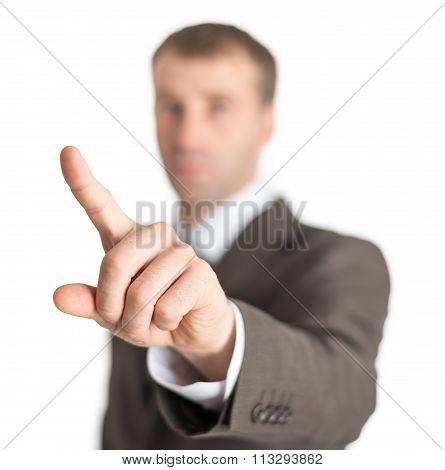 Businessman pushing screen