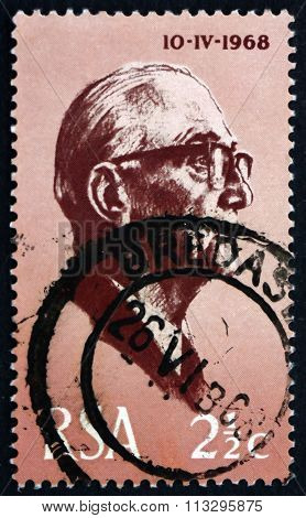 Postage Stamp South Africa 1968 President Jacobus Johannes Fouch