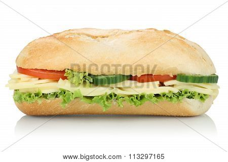 Sub Deli Sandwich Baguette With Cheese Side View Isolated