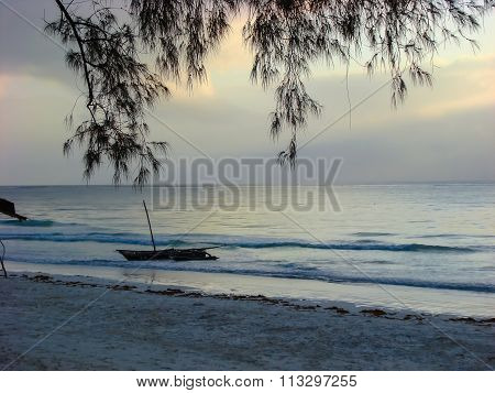 Sky Before Sunrise On Sea Beach