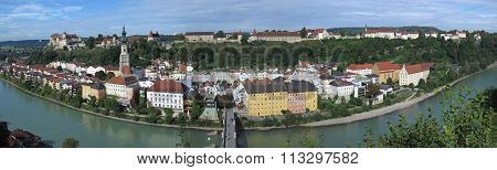 View to Burghausen and Salzach river in Bavaria, Germany ** Note: Soft Focus at 100%, best at smaller sizes