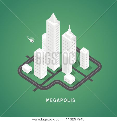 Isometric city buildings.