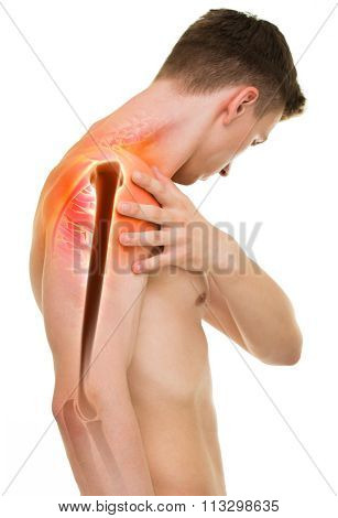 Shoulder Pain - Anatomy Male Holding Shoulder Isolated On White