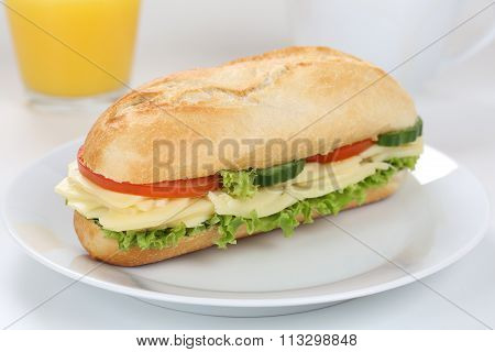Sub Deli Sandwich Baguette For Breakfast With Cheese And Orange Juice