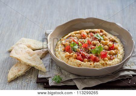 Hummus With A Salad Of Tomato, Onion And Cilantro