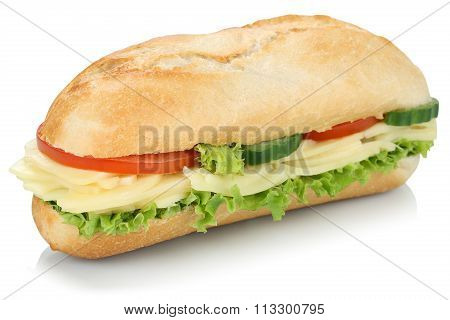Sub Deli Sandwich Baguette With Cheese Isolated