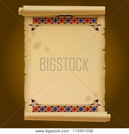 Old parchment with gold gothic ornament. Vector illustration