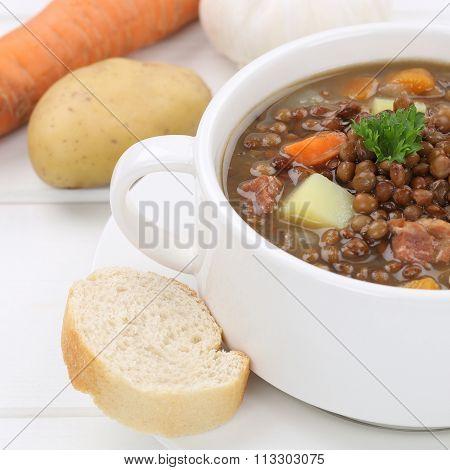 Healthy Eating Lentil Soup Stew With Lentils Closeup