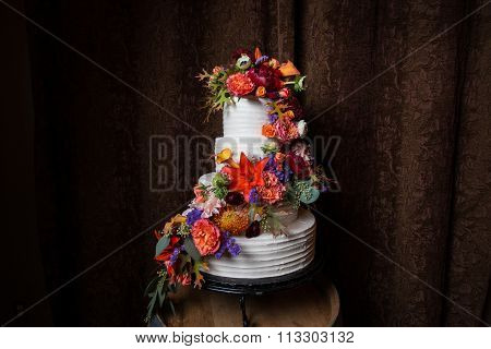 Colorful Floral On White Wedding Cake