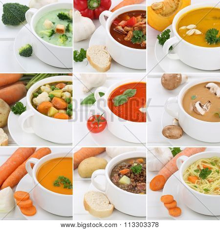 Collection Of Soups Soup Tomato Vegetable Noodle