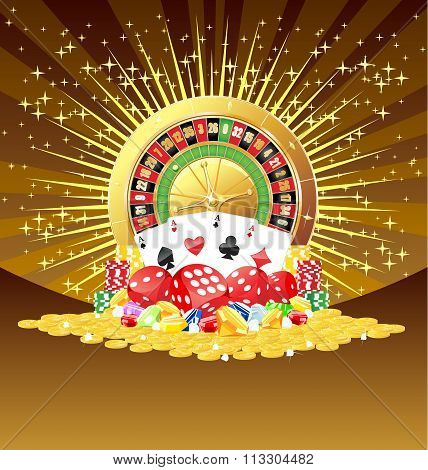 Roulette, Cards, Dices, Chips, Gemstones And Golden Coins Background