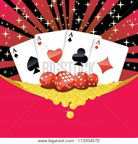 Dices, Playing Cards And Falling Golden Coins Gambling Background
