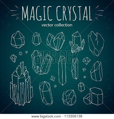 Magic crystal hipster style hand drawn vector set
