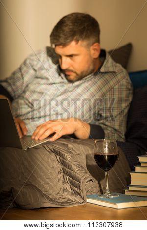 Man Chatting On Internet