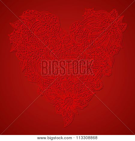 Red Ornate Heart