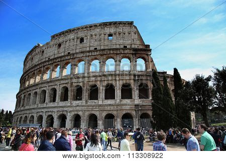 Rome, Italy - April 08: Many Tourists Visiting The Colosseum In Rome, Italy. Rome Is The Capital Of