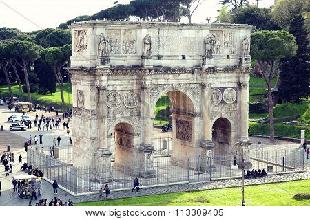 Rome; Italy - April 08: Tourists At The Arch Of Constantine In Rome; Italy, View From Colloseum. Rom