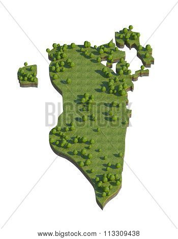 Bahrain 3D Map Section Cut Isolated On White With Clipping Path