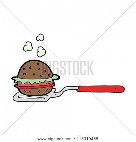 freehand drawn cartoon spatula with burger