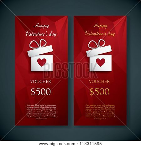 Valentine's day gift card voucher template present and space for your text. Red low poly vector back