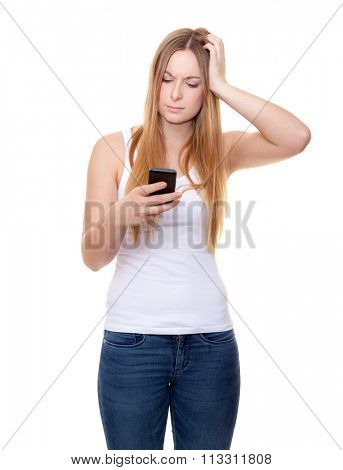 Attractive young woman with smart phone. All on white background.. All on white background.