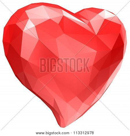 heart with faceted low-poly geometry effect