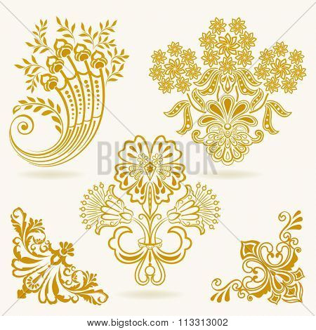 Floral vintage vector design elements isolated on white background. Set 36.