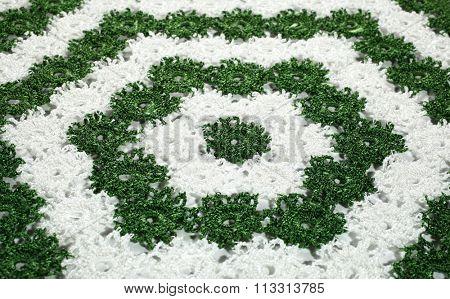 Green white crochet doily