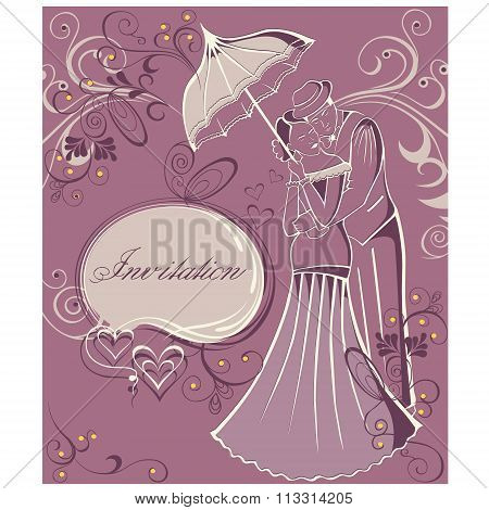 Newlyweds. Couple with umbrella. Wedding invitation.