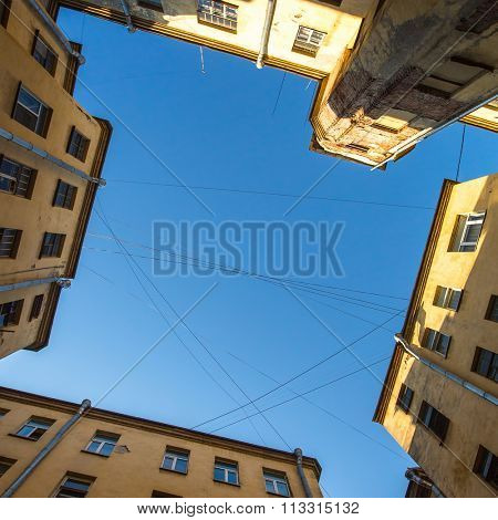 View of the sky from the yard of a well in St. Petersburg, Russia.