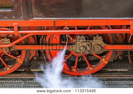 Close up of steam locomotive