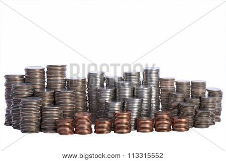 Money, stacks of coins. Quarters, Nickels, Dimes and Pennies