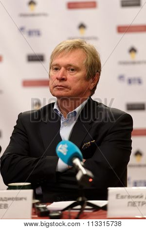 ST. PETERSBURG, RUSSIA - SEPTEMBER 21, 2015: Deputy artistic director of St. Petersburg Philharmonic hall Nikolay Alekseev during press conference dedicated to opening of 95th season