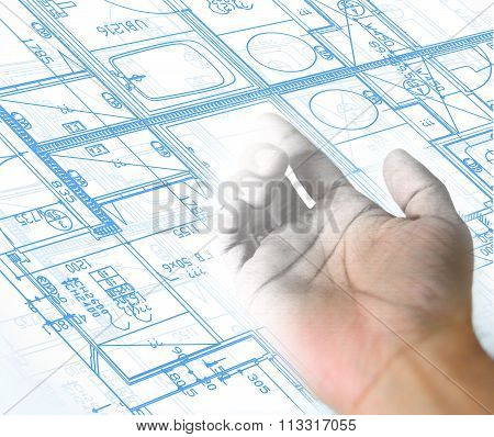Hand Drawing And Blueprint Architectural Background