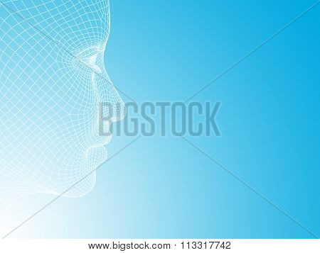 Concept or conceptual 3D wireframe young human female or woman face or head on white blue background